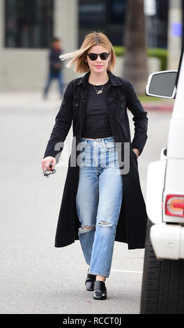 Lucy Hale out and about wearing a trenchcoat  Featuring: Lucy Hale Where: Los Angeles, California, United States When: 14 Dec 2018 Credit: WENN.com - Stock Image