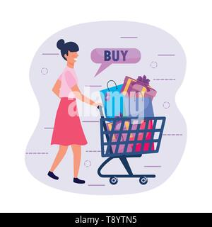 woman with shopping cart and buy online vector illustration - Stock Image