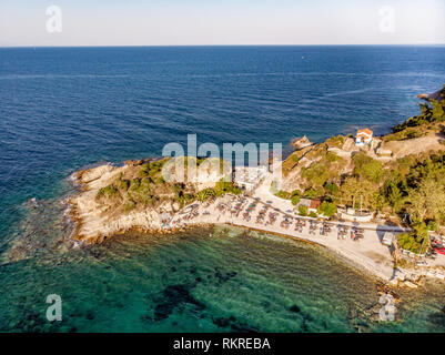 Drone aerial view of a beach in Thassos - Stock Image