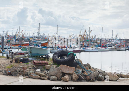 15 June 2018: Newlyn, Cornwall, UK - The fishing port and seaside town. in south west Cornwall. - Stock Image
