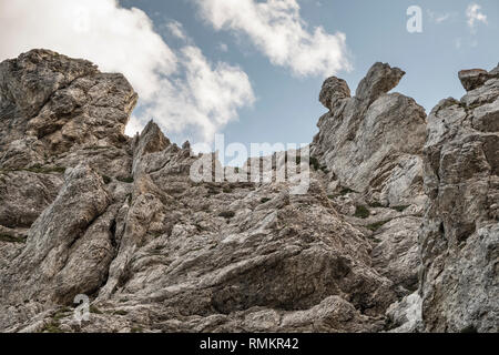 A rugged limestone cliff in the Italian Dolomites - Stock Image