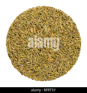 Dried thyme. Herb circle from above, isolated, over white. Disc made of minced stems. Green herb, Thymus vulgaris, a relative of oregano. - Stock Image