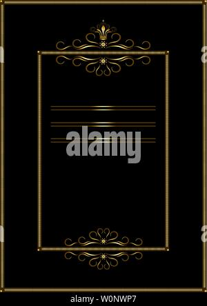 Double gold rectangular frame of strokes, with a pattern of gold calligraphic curves and curls on a black background - Stock Image