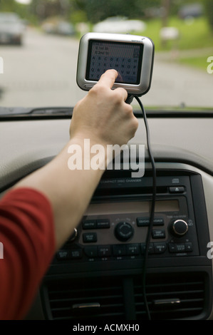 Satellite Navigation System in Automobile - Stock Image