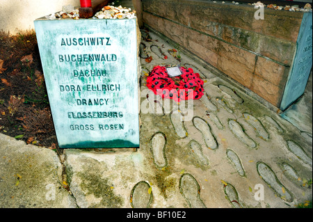 Paris, France - Pere Lachaise Cemetery, Monument to Shoah, Jews Deported to Concentration Camps in Holocaust WWII - Stock Image