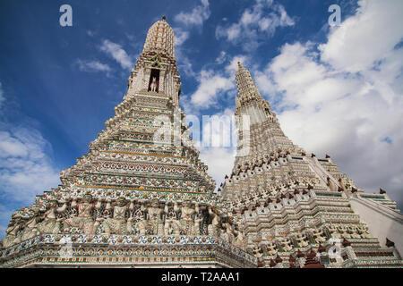 Prangs of Wat Arun in Bangkok, Thailand. - Stock Image