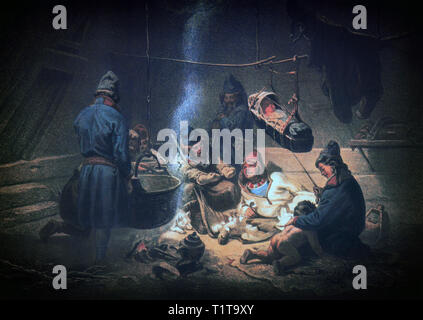 The inside of a hut, or tent, of  the Sámi people (also Saami), the indigenous people of northern Europe inhabiting Sápmi, in northern Sweden. The traditional Sámi lifestyle, dominated by hunting, fishing and trading, was preserved until the Late Middle Ages, when the modern structures of the Nordic countries were established. - Stock Image