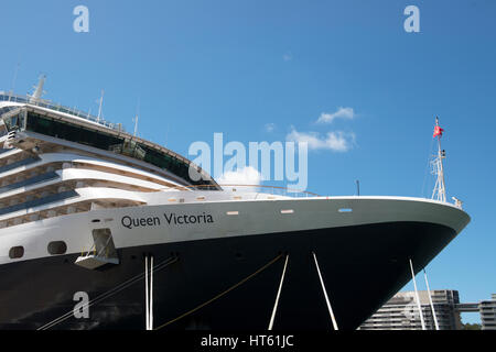 MS Queen Victoria moored at Circular Quay Sydney Australia - Stock Image