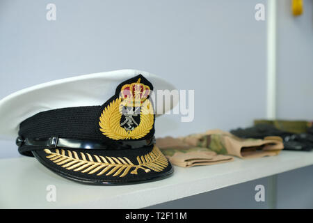 February 18, 2019 - Abu Dhabi, UAE: Generic Navy hat / army caps at display - Stock Image