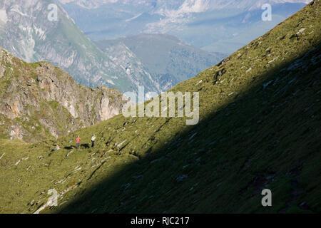 Wanderer am Aschaffenburger Höhenweg, Zillertaler Alpen, Tirol, Österreich - Stock Image