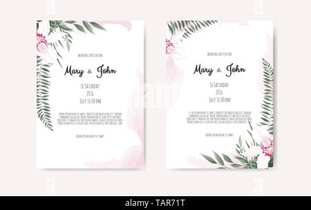 Botanical wedding invitation card template design, white and pink flowers on white background - Stock Image