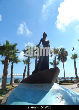 Statue of Mediterranea by Luis Reyes on the beach promenade, Fuengirola, Costa del sol, Spain. - Stock Image