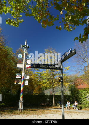 Am Glockenbach square Munich Germany Europe - Stock Image