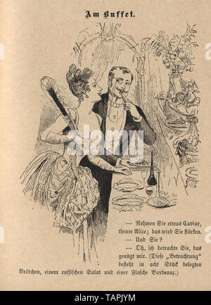 Victorian Cartoon of young couple flirting at a buffet, 1880s, German - Stock Image