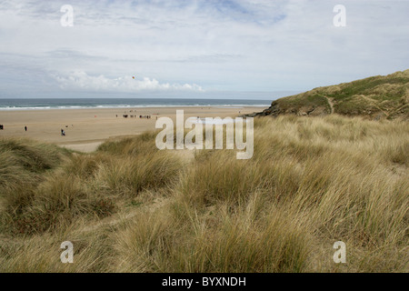 Sand Dunes at Perranporth, North Cornwall Coast, Britain, UK. - Stock Image