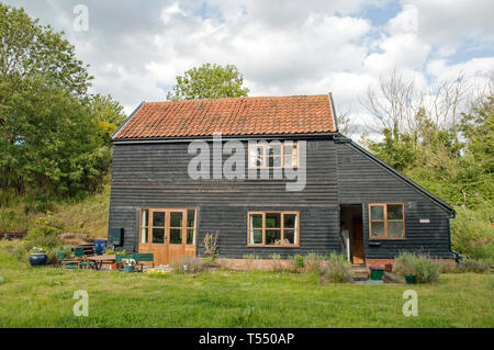 The Barn, new build wooden house, Bromeswell, Suffolk, England,Britain UK - Stock Image