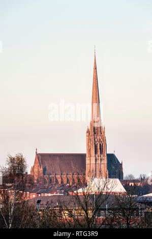 St Walburge, Preston, Lancashire. This Victorian Gothic building has the tallest parish church spire (94m) in England, built by Joseph Hansom in 1854 - Stock Image