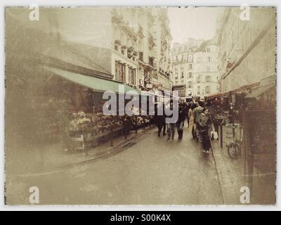 Rustic looking street scene in Central Paris, France. - Stock Image