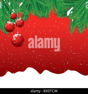 Christmas background with pine leaves and red baubles - Stock Image