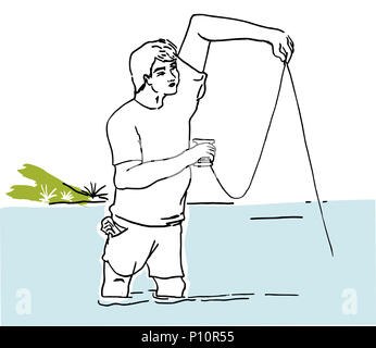 Fishing hobby.  Man enjojing with his fishing hobby. Fisherman in the sea illustration. - Stock Image