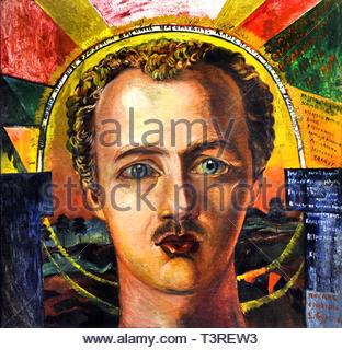 Portrait of poet-futurist Wassily Kamensky 1917  David Davidovich Burliuk born 1882 – Ukrainian Futurist (Russian Futurism) - Stock Image