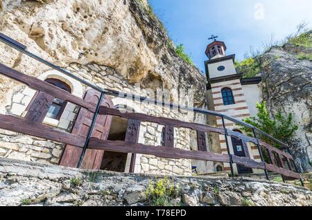 Basarabov Rock Monastery, Bulgaria. Basarbovo, the Monastery of Saint Dimitar Basarbowski is a Bulgarian orthodox cave monastery near city of - Stock Image