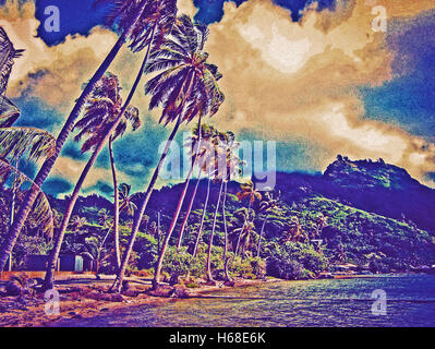 Postcard  vintage image of Tahiti shores with palm trees swaying in the wind,and blue sky in the background, on - Stock Image