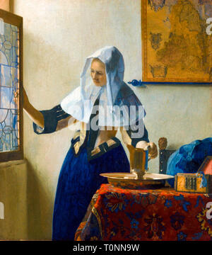 Johannes Vermeer, Woman with a Water Jug, portrait painting, c. 1662 - Stock Image
