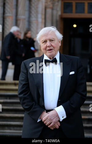Sir David Attenborough attends The global premiere of Netflix's OUR PLANET on Thursday 4 April 2019 at The Natural History Museum, London. . Picture by Julie Edwards. - Stock Image