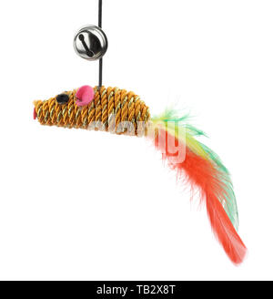 Funny cat toy feather mouse isolated on white - Stock Image