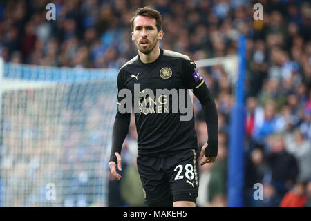 Leicester Cities Austrian defender Christian Fuchs during the Premier League match between Brighton and Hove Albion and Leicester City at the American Express Community Stadium in Brighton and Hove. 31 Mar 2018 - Stock Image