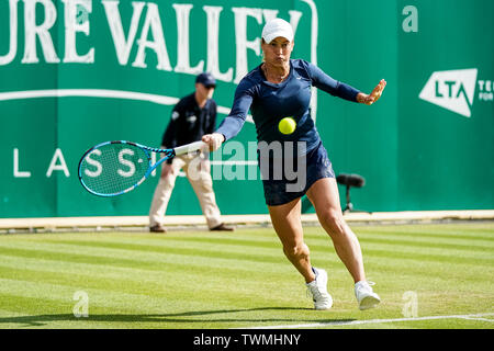 Edgbaston Priory Club, Birmingham, UK. 21st June, 2019. WTA Nature Valley Classic tennis tournament; Yulia Putintseva (KAZ) hits a forehand in her quarterfinal match against Julia Goerges (GER) Credit: Action Plus Sports/Alamy Live News - Stock Image