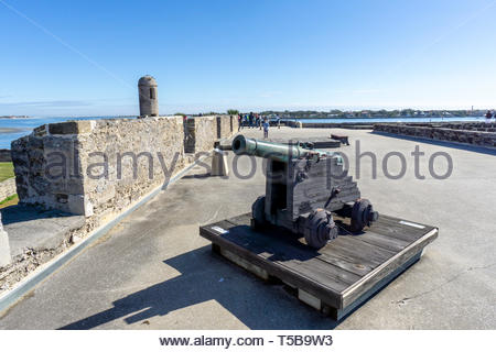 A cannon on display at the Castillo de San Marcos, a Spanish fortification at St. Augustine, Florida USA - Stock Image