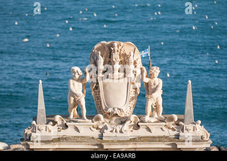 Stone Arch statue, Naples, Italy - Stock Image