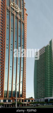 Tall glass buildings on Science Street, Pyongyang, North korea - Stock Image