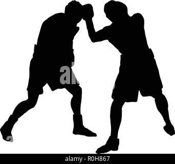 Boxing silhouette. Black on White. Vector illustration. - Stock Image