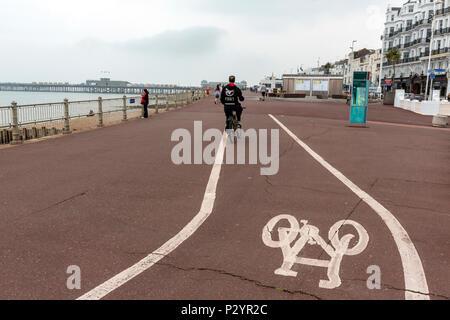 Bicycle lane in Hastings promenade, East Sussex, England , UK - Stock Image