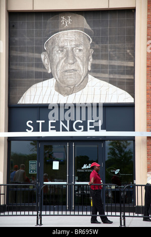 Security guard standing outside Casey Stengel VIP entrance at Citi Field, Queens, NY, USA - Stock Image