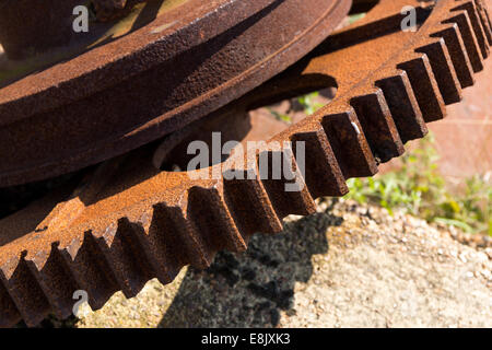 abandoned winch gears - Stock Image