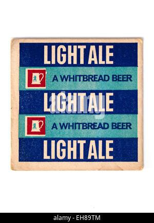 Vintage Beermat Advertising Whitbread Light Ale Beer Beer - Stock Image