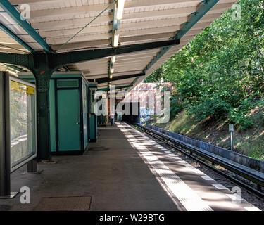 Berlin-Dahlem. Oskar-Helene-Heim U-Bahn underground railway station on the U 3 line. - Stock Image