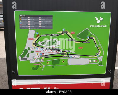signpost at the RS OWNERS CLUB National day at donnington park race circuit showing locaiton layout map and map of the racing track - Stock Image