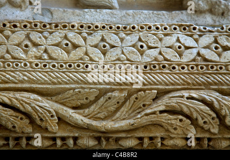 Arles; Bouches du Rhone, France; Detail of sculpture on the Romanesque styled church of St.Trophime - Stock Image