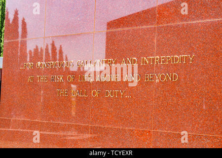 The Medal of Honor Memorial at the Riverside National Cemetery in Riverside California - Stock Image