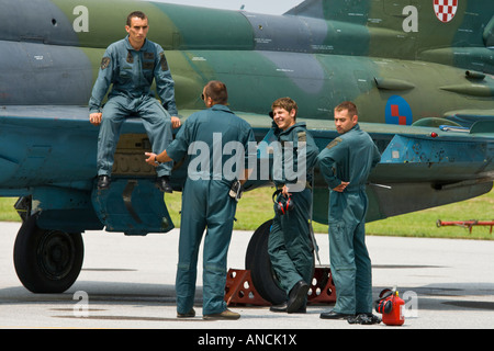 Croatian Air Force MiG-21 BISD fighter with mechanics around, Pleso AFB during 'open day' visit in 2007 - Stock Image