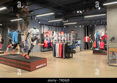 The soccer section of the Adidas Store on Broadway in Greenwich Village, New York City. - Stock Image
