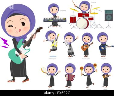 A set of women wearing hijab playing rock 'n' roll and pop music.There are also various instruments such as ukulele and tambourine.It's vector art so  - Stock Image