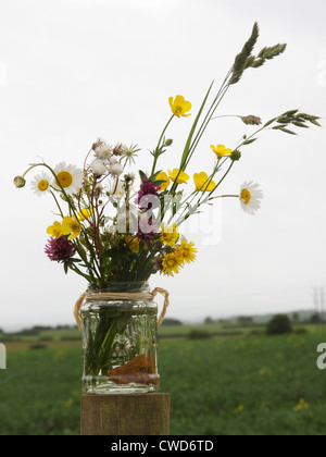 Jam jar of wild flowers on a fence post in farmland - Stock Image