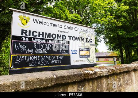 Richmond Town Football Club sign, Richmond Yorkshire UK, Richmond Town FC sign, football club, fooball clubs UK, UK football clubs, UK football club, - Stock Image