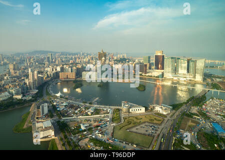 Image of Macau (Macao), China. Skyscraper hotel and casino building at downtown in Macau (Macao). - Stock Image